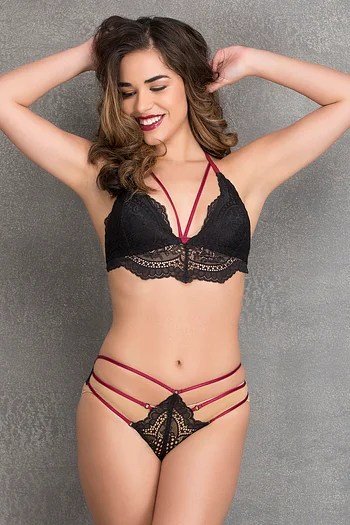 Front listing image for Non-Padded Non-Wired Racerback Cage Bra with Hipster Panty - Lace