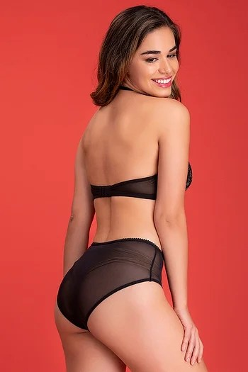 Back listing image for Padded Underwired Halter Neck Bridal Bra with Hipster Panty in Black - Lace