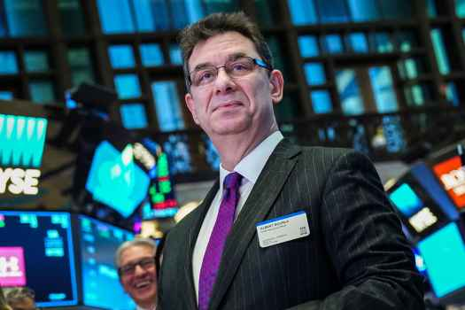 Albert Bourla, chief executive officer of Pfizer pharmaceutical company, arrives to ring the closing bell at the New York Stock Exchange.