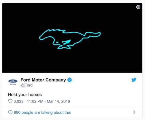 ford teases electric mustang