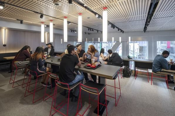 H/O: McDonald's new Times Square flagship, tables third floor seating 190529