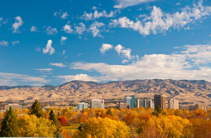 GI Boise skyline in autumn