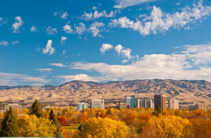 GI Boise skyline in autumn