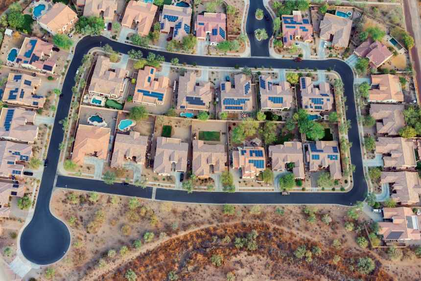 Solar installations fill a neighborhood in the southwestern United States.