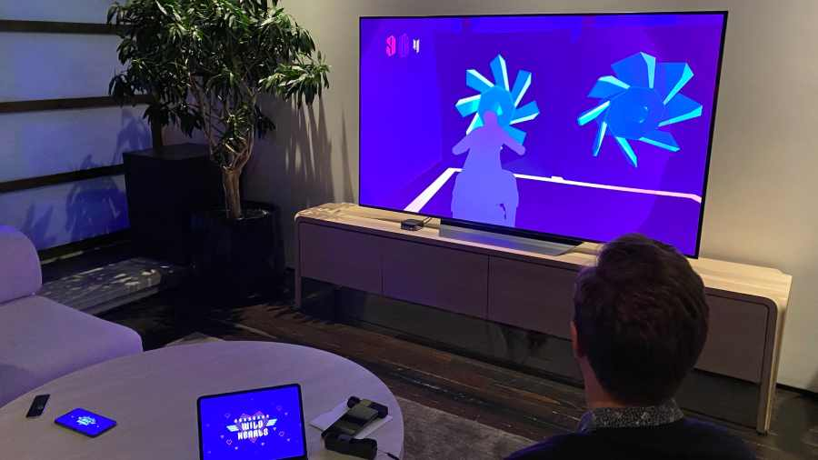 A demo of Sayonara Wild Hearts at the Apple awards event. Todd Haselton | CNBC