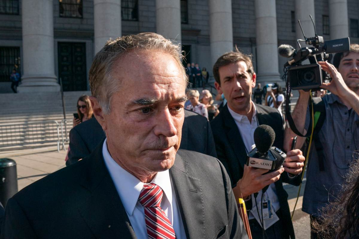 Former U.S. Rep. Chris Collins (R-NY) exits federal court on October 1, 2019 in New York City.