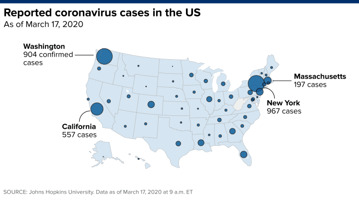 US coronavirus cases surpass 5,000, up fivefold from a week ago