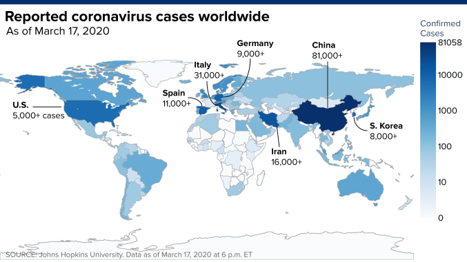 Worldwide coronavirus cases top 200,000, doubling in two weeks