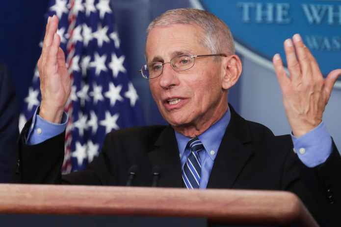 Dr. Anthony Fauci, Director of the National Institute of Allergy and Infectious Diseases, addresses the coronavirus task force daily briefing at the White House in Washington, U.S., March 24, 2020. REUTERS/Jonathan Ernst