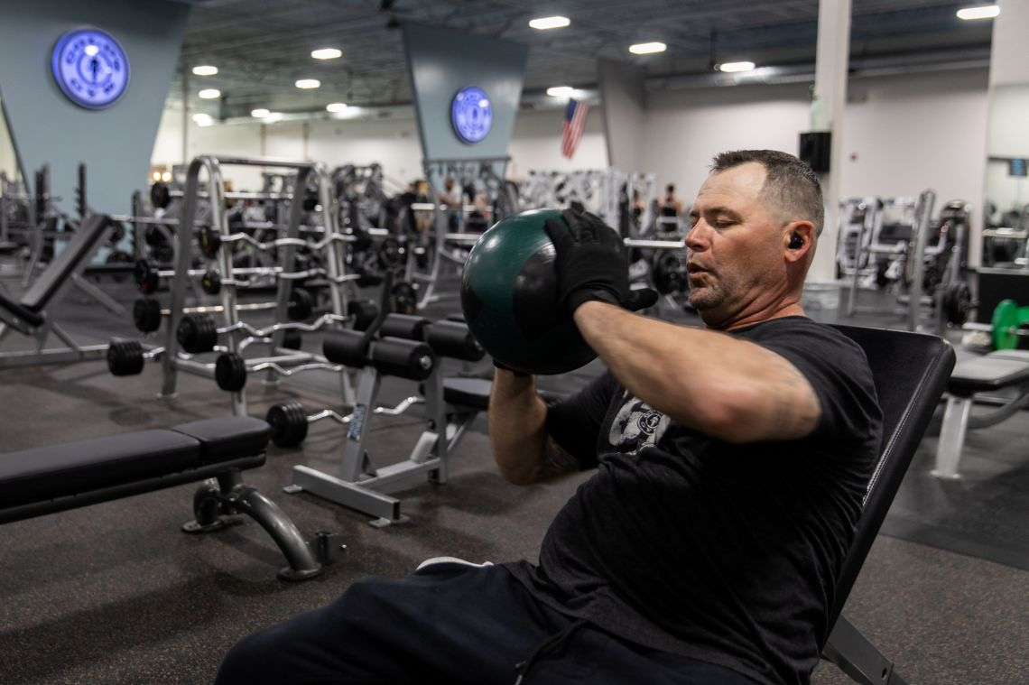 A man exercises at Gold's Gym, one of the businesses that reopened after a shutdown to prevent the spread of the coronavirus disease (COVID-19) in Augusta, Georgia, April 26, 2020.