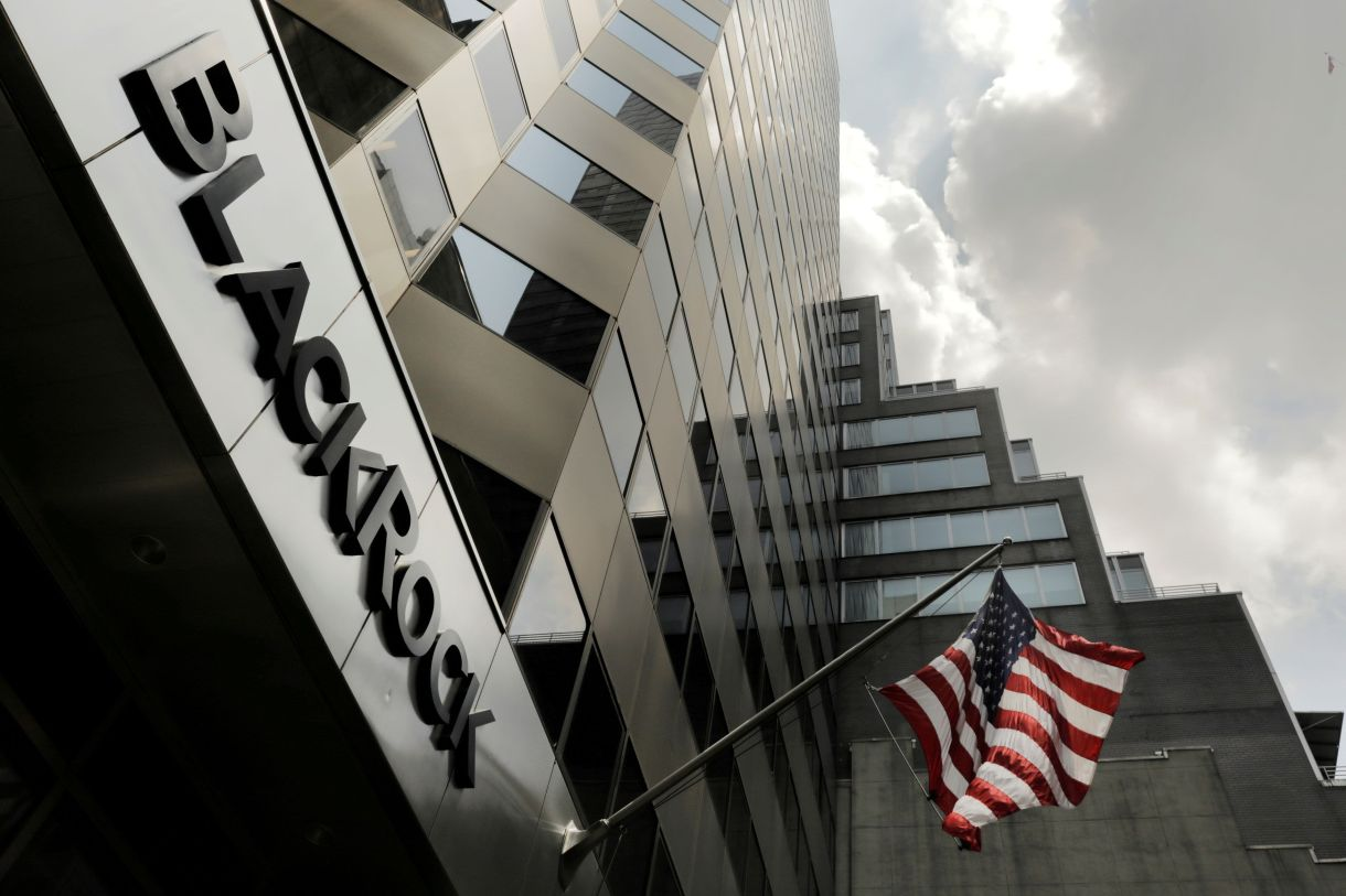 A sign for BlackRock Inc hangs above their building in New York.