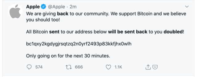 Apple's Twitter account was hacked.