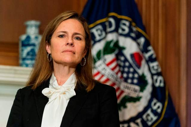 Judge Amy Coney Barrett, President Donald Trump's nominee for the US Supreme Court, meets with Senator Jerry Moran, R-KS on Capitol Hill in Washington, DC on October, 1, 2020.