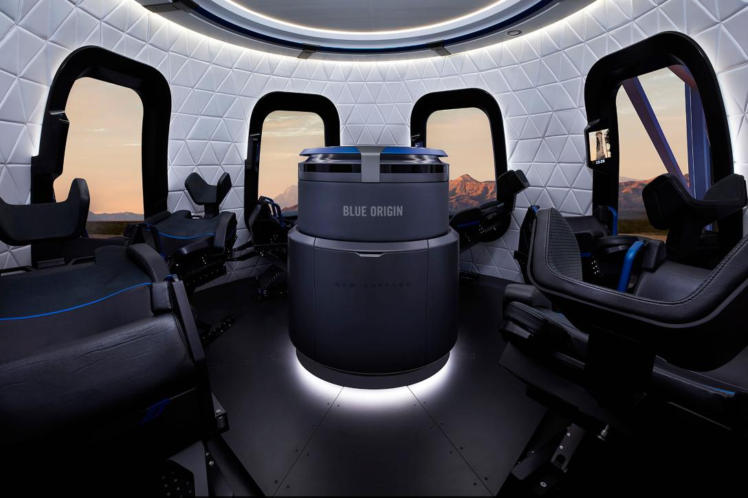 The interior of the latest New Shepard capsule