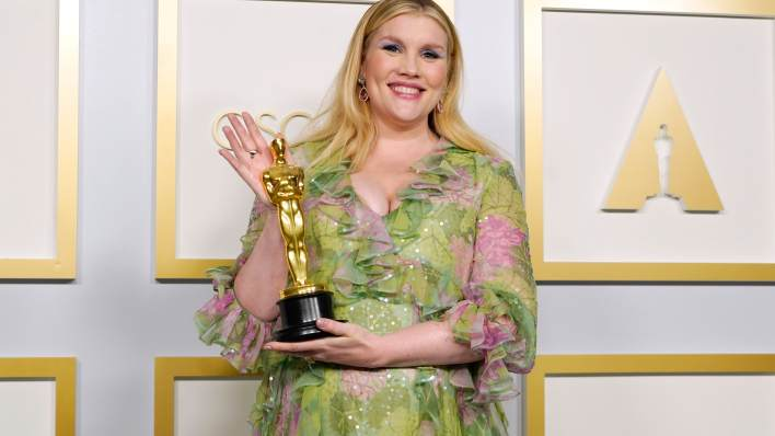 "Emerald Fennell, winner of Best Original Screenplay for ""Promising Young Woman,"" poses in the press room at the Oscars on Sunday, April 25, 2021, at Union Station in Los Angeles."