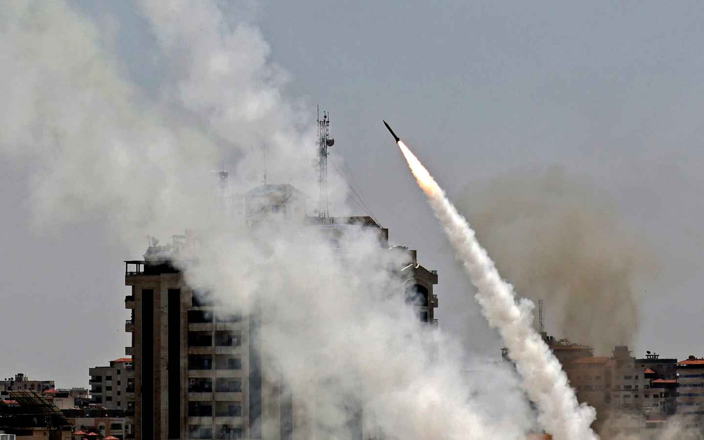 Rockets are fired from Gaza City, controlled by the Palestinian Hamas movement, towards Israel on May 11, 2021.