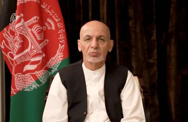 Afghan President Ashraf Ghani makes an address about the latest developments in the country from exile in United Arab Emirates, in this screen grab obtained from a social media video on August 18, 2021.
