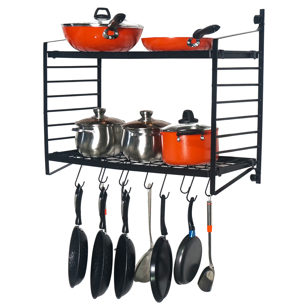 2 tiered wall mounted pot rack