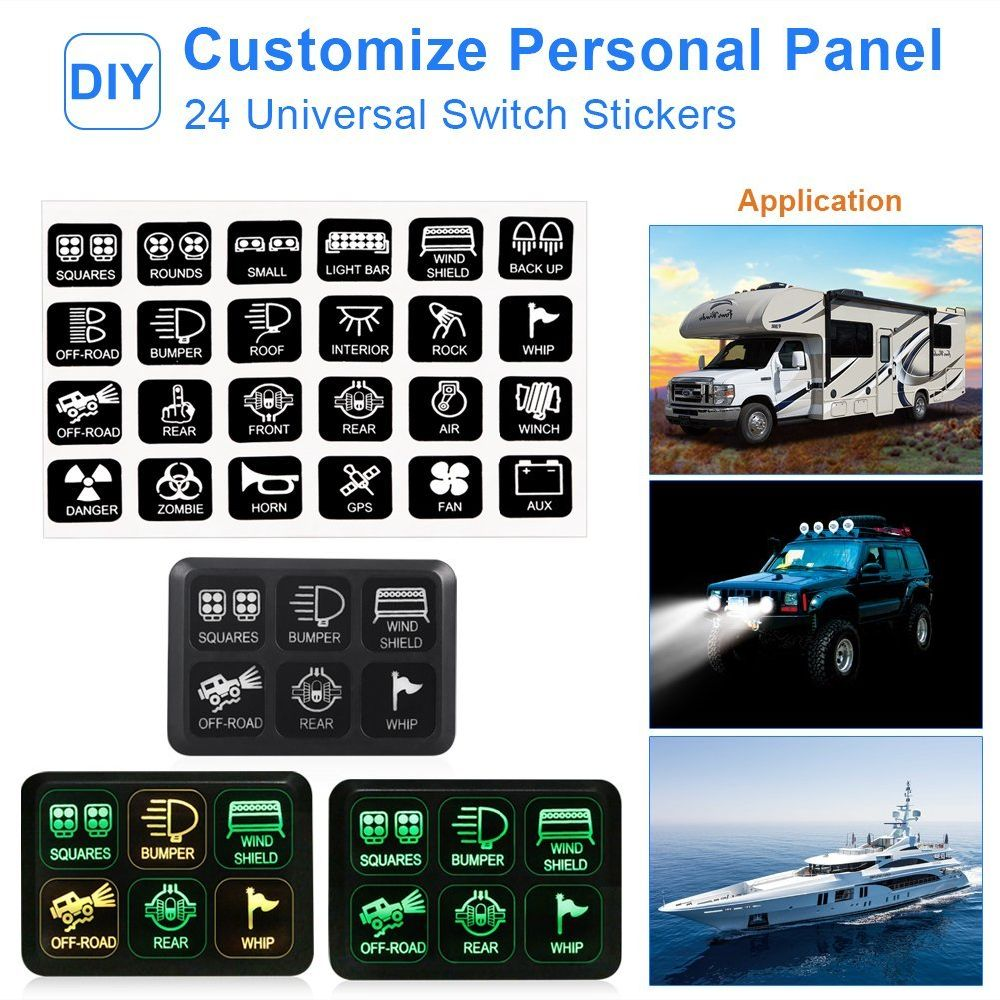 hight resolution of  off road lights vehicle accessories package list 1 switch panel 24 stickers 2 screws mounting bracket tape 3 relay and fuse box har