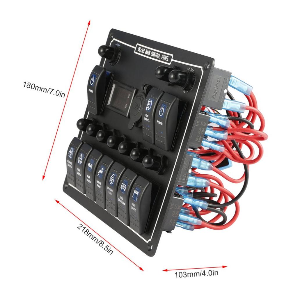 medium resolution of 1 x 10 gang blue led ac dc rocker switch panel