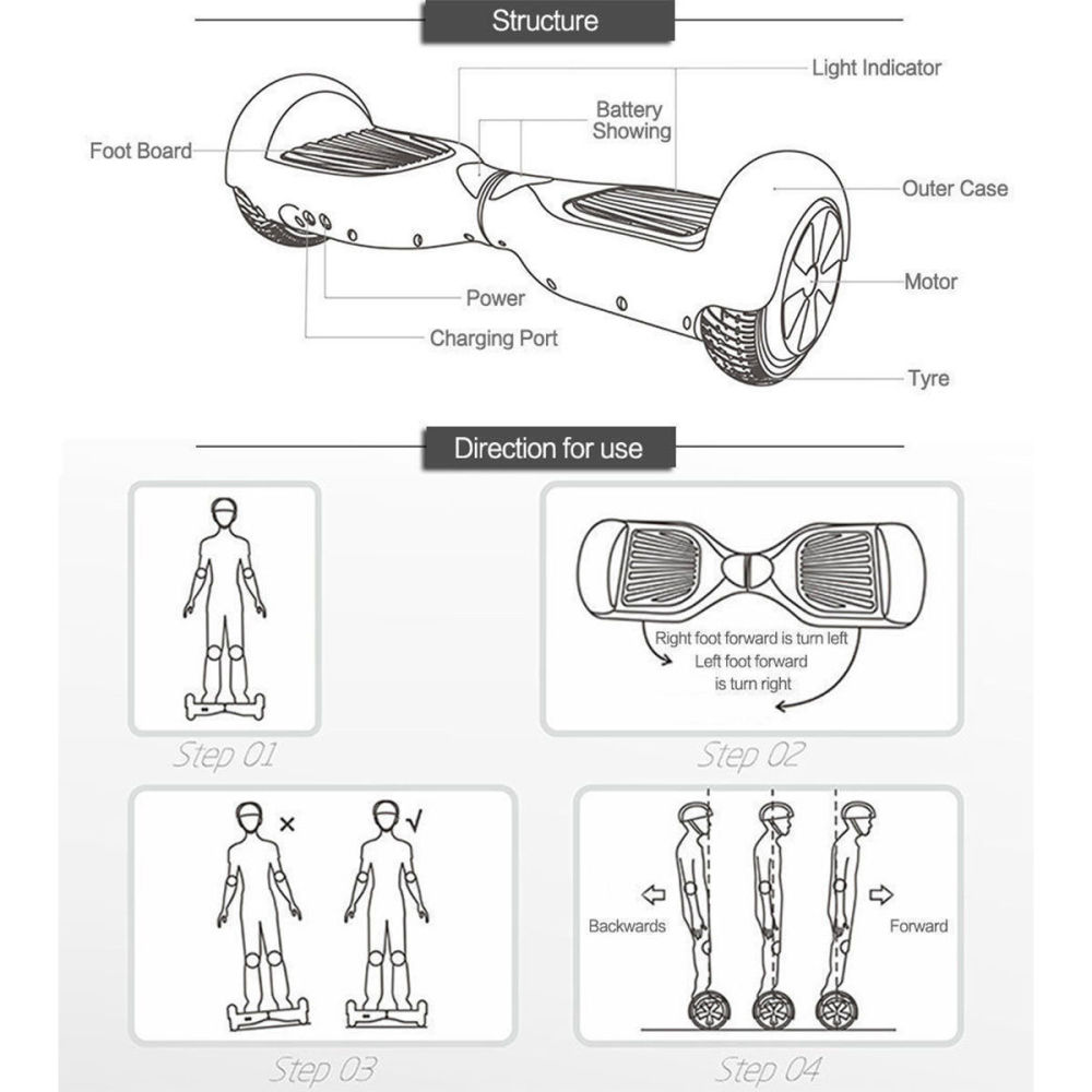 Shop for Megawheels 6,5''Bluetooth Self Balancing Scooter Smart Board E-Scooter LED + BAG at