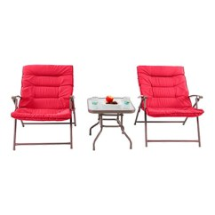 Cushioned Folding Chairs Chair Stand Power Shop For Phi Villa Patio 3 Pc Soft Padded Set Outdoor Furniture Red At Wholesale Price On Crov Com