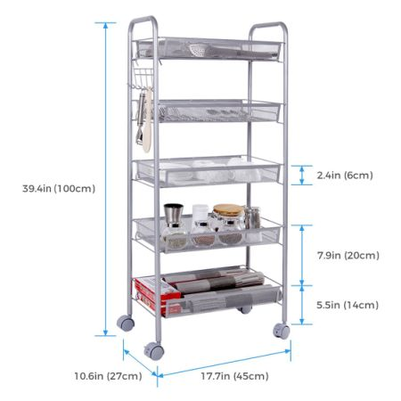 Shop for Lifewit Metal Mesh Storage Rolling Cart with 5