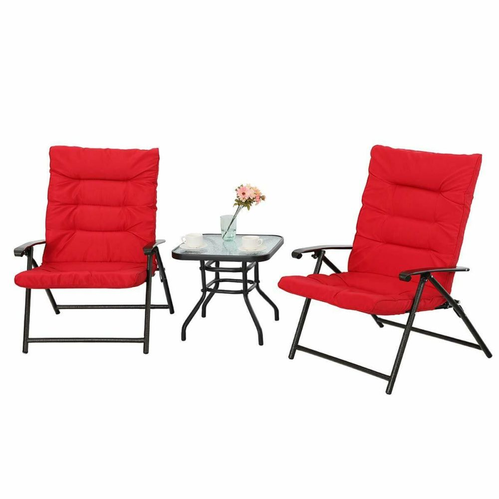 Soft Folding Chairs Shop For Phi Villa Patio 3 Pc Soft Padded Folding Chair Set