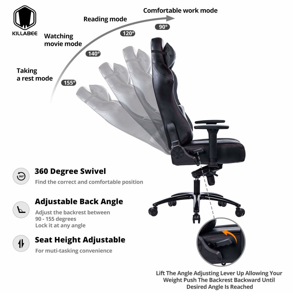 ergonomic chair angle papasan lounge shop for killabee big and tall 400lb memory foam gaming adjustable tilt back 3d arms high leather racing executive