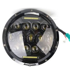 tsialee 7 inch 75w cree led headlights hi lo beam with daytime running light drl for jeep wrangler harley davidson trucks off road lights w h4 to h13  [ 1000 x 820 Pixel ]