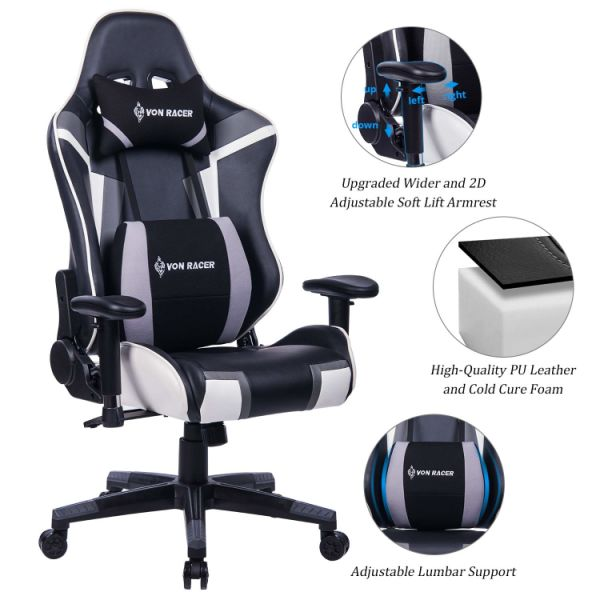 mesh gaming chair exercise for seniors shop von racer mutifunctional memory foam adjustable lumbar support and headrest high
