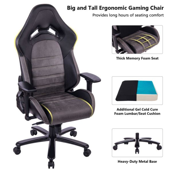 heavy duty gaming chair beach covers target shop for killabee big and tall 440lb memory foam with gel cold cure lumbar seat cushion 4d arms metal base black brown 1 piece