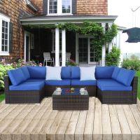 Shop for Patio Rattan Furniture 7pcs Garden Sectional Sofa ...