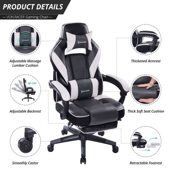 reclining gaming chair activeaid shower shop for von racer massage ergonomic high back racing computer desk office