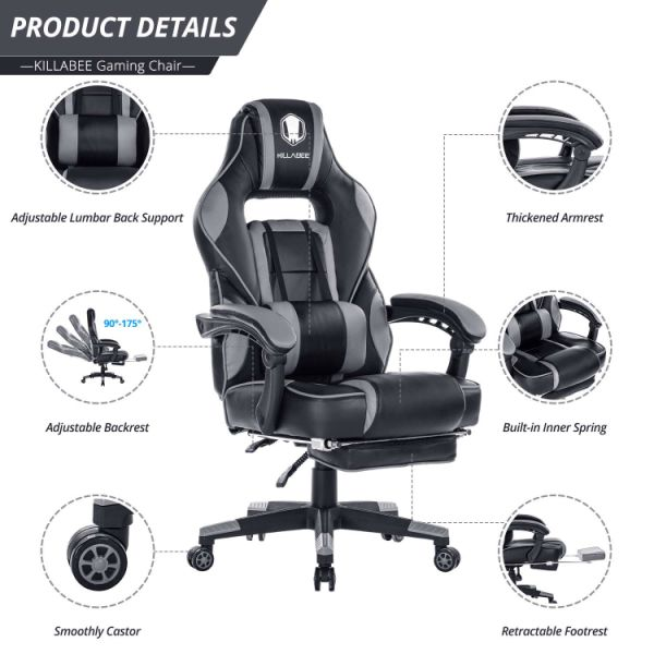 office chair ergonomic cushion portable high chairs shop for reclining racing gaming back computer desk with retractable