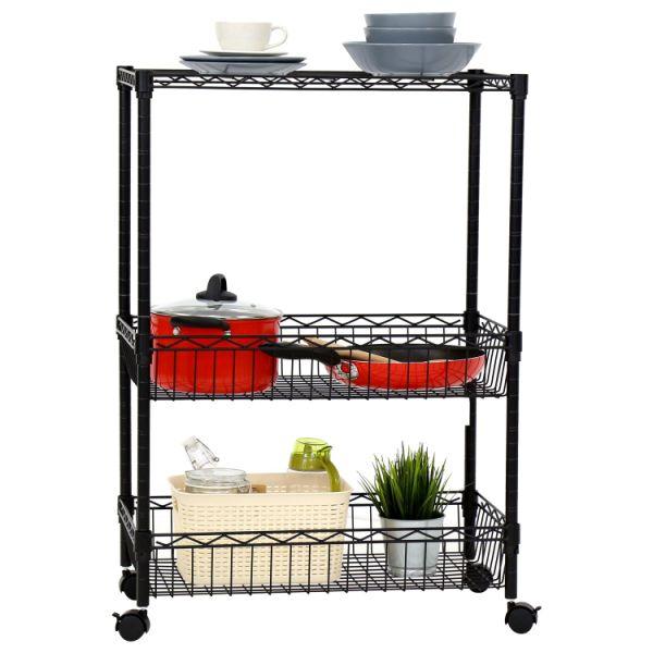 kitchen trolley cart tap shop for kinbor 3 layer rolling metal wire shelf adjustable w baskets