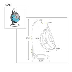 Swing Chair Drawing Yoga Accessories Shop For Garden Outdoor Rattan Patio Hanging Egg Seat Blue Cushion