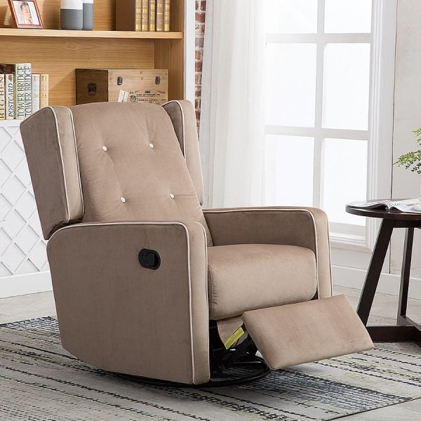fabric living room chairs beach look shop for canmov microfiber swivel rocker recliner chair soft with single seat manual reclining