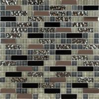 glass mosaic tile backsplash kitchen metal coating tile ...