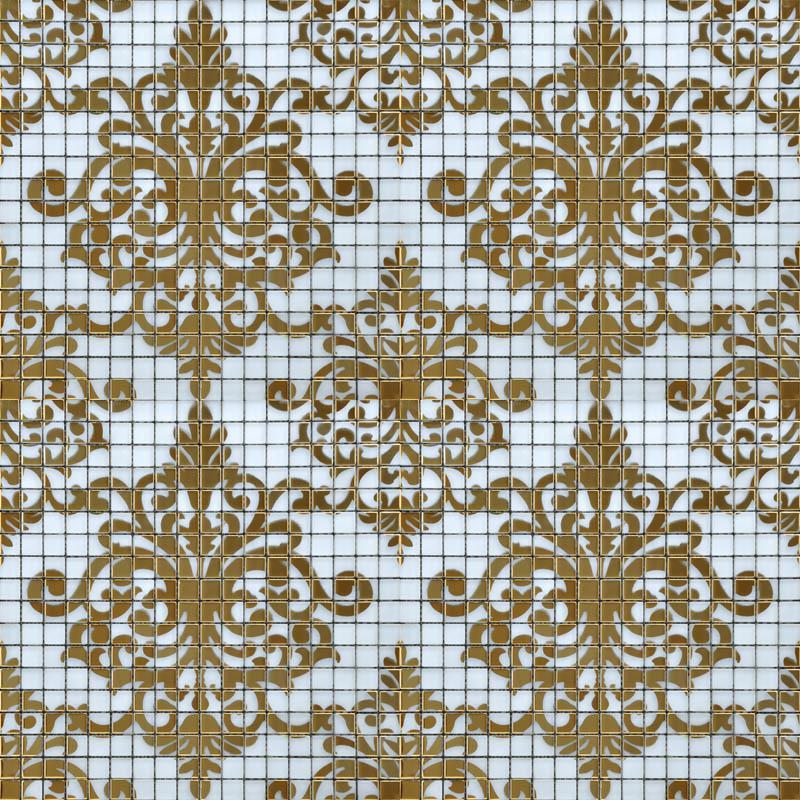 Crystal Glass Tile Golden Mosaic Pattern Design Interior