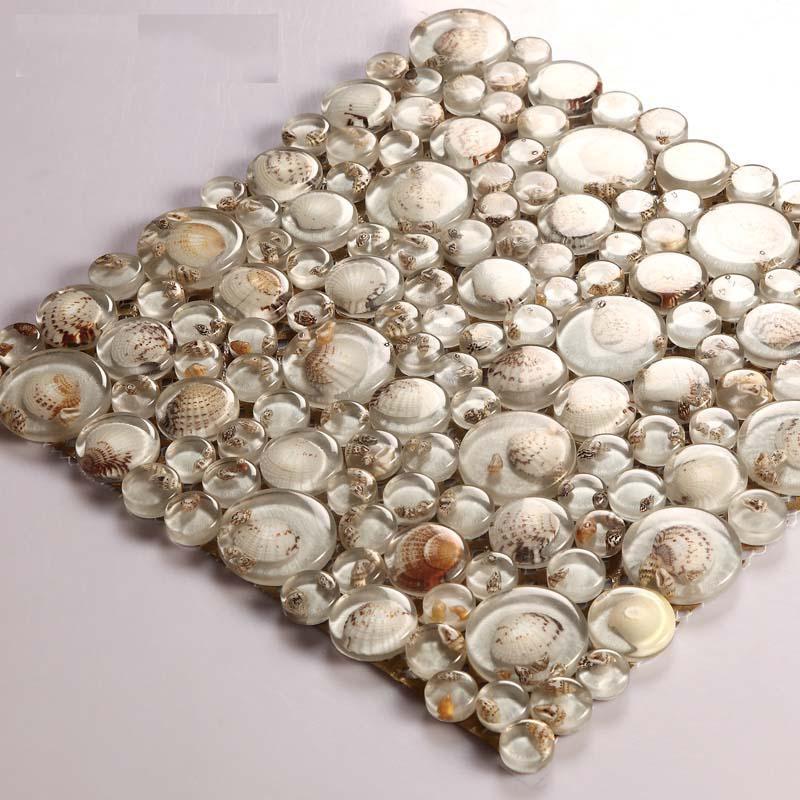 Wholesale Mosaic Tile Crystal Glass Shell Tile Backsplash