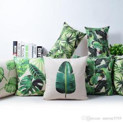 Loose Cotton Chair Covers Gold Wedding Tropical Rainforest Cushion Cover Green Jungle Plant Throw Pillow Case Banana Leaf Leaves ...
