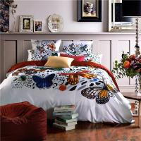 100s Pima Cotton Butterfly Printed Bedding Sets High Grade