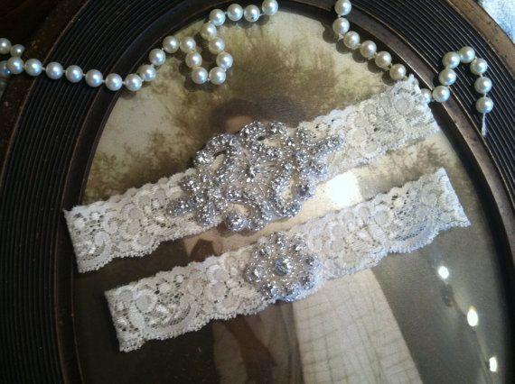 Custom Made Sexy Ivroy White Lace Wedding Garters Glitter Crystal