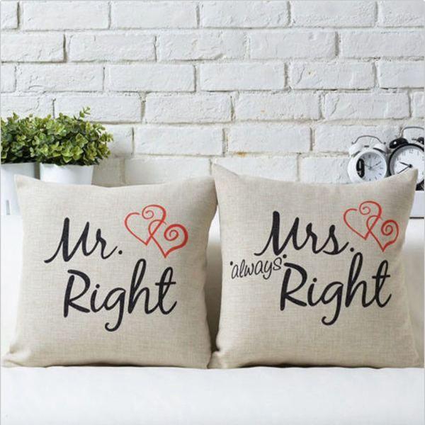 2015 Funny Home Decor Mr Right Mrs Al Ways Right Print Cotton