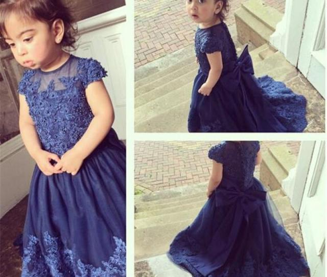 Cute Baby Girls Flower Girl Dress Uk Australia Sheer Neck Dark Navy Cap Sleeves Beads Applique Lace Lovely Kid Girls Dresses Peach Flower Girl Dress Royal