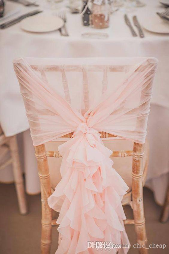 2019 In Stock 2017 Blush Pink Ruffles Chair Covers Vintage
