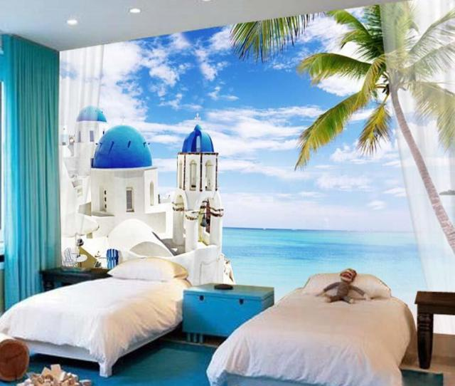 Charming Santorini Wallpaper D Seascape Photo Wallpaper Natural Scenery Murals Custom Wall Mural Giant Art Room Decor Bedroom Kids Room Free Download