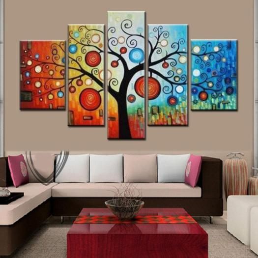 2018 Hand Painted Modern Abstract Apple Tree Oil Painting On Canvas Large Bright Art Cheap Home Decoration Artwork Pictures T89 From Dorapainting