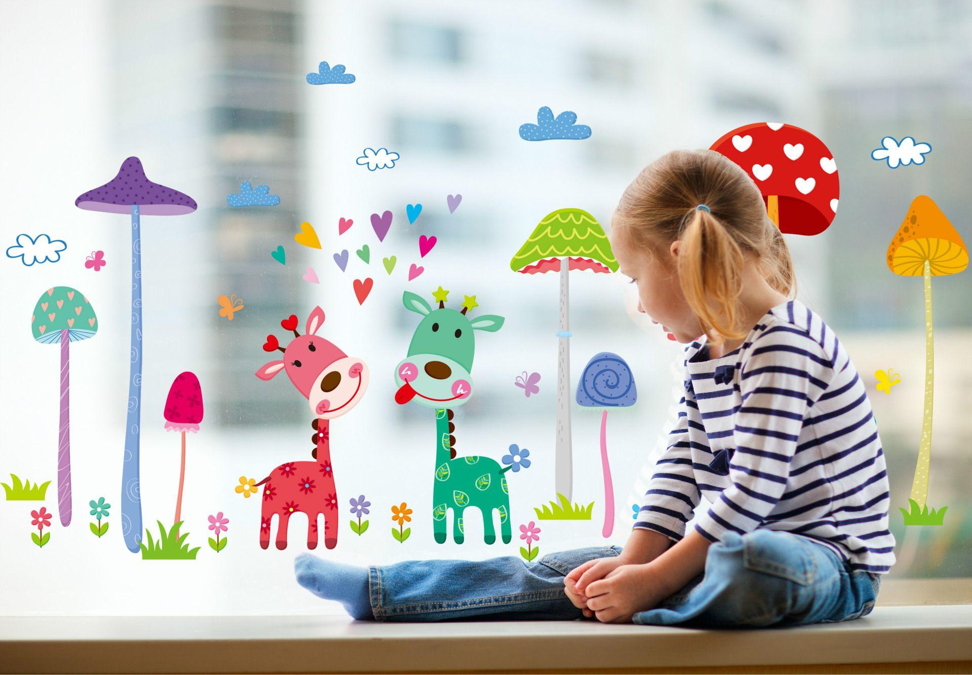 3d Wallpaper For Kid Bedroom Forest Mushroom Deer Animals Home Wall Art Mural Decor